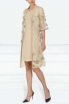 Nude Applique Work Front Open Kimono Jacket by Suede by Devina Juneja