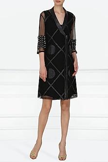 Black Applique Work Knee Length Blazer Dress by Suede by Devina Juneja