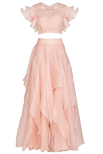 Baby Pink Embroidered Blouse With Ruffled Skirt by Shalini Dokania