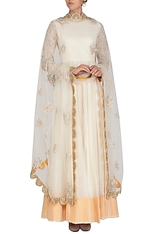 Off White Embroidered Anarkali Set by Shalini Dokania