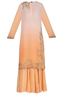 Pink To Peach Shaded Embroidered Sharara Set by Shalini Dokania