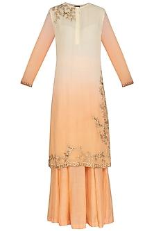 Off White To Peach Shaded Embroidered Sharara Set by Shalini Dokania