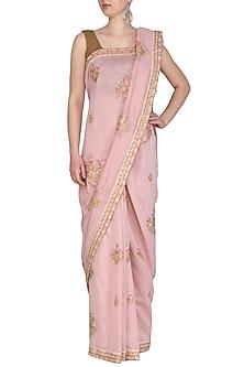 Baby Pink Embroidered Saree Set by Shalini Dokania