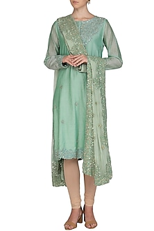 Teal Green Embroidered Kurta With Dupatta by Shalini Dokania