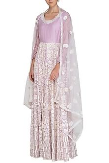 Lavender Embroidered Anarkali Set by Shalini Dokania