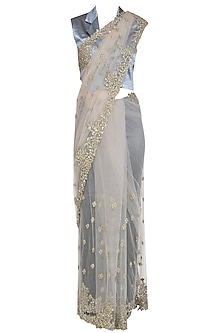Grey Embroidered Net Saree Set by Shalini Dokania