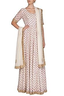 Off White Printed & Embroidered Anarkali Set by Shalini Dokania