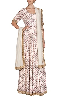Off White Printed & Embroidered Anarkali Set by Shalini Dokania
