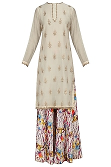 Off White Embroidered Kurta with Floral Print Sharara Pants by Shalini Dokania