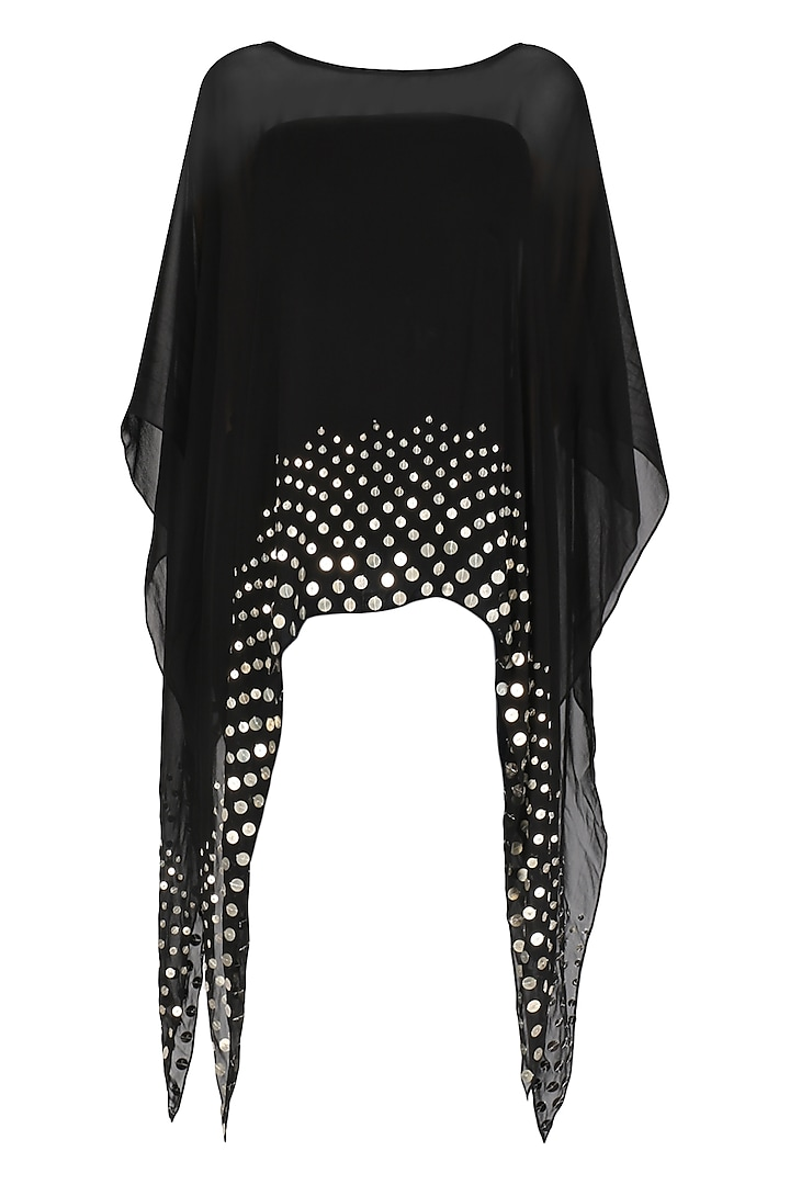 Black Coin Embellished Asymmetrical Cape by Shirrin Design Co.