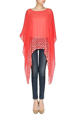 Red Coin Embellished Asymmetrical Cape by Shirrin Design Co.