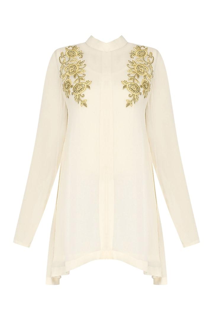 Cream Embroidered Tunic by Shirrin Design Co.