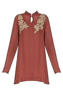 Sage Brick Red Embroidered Tunic by Shirrin Design Co.