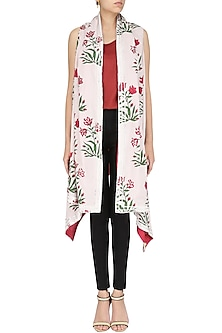 White and Red Printed Asymmetrical Shrug by Shirrin Design Co.
