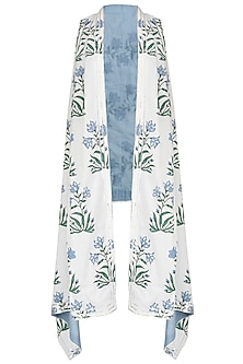 White and Blue Printed Asymmetrical Shrug by Shirrin Design Co.