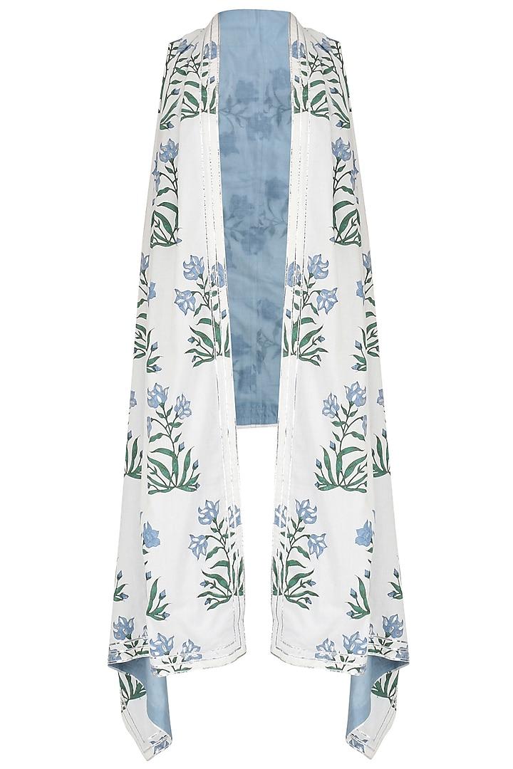 White and Blue Printed Asymmetrical Shrug by Shirrin Design Co.