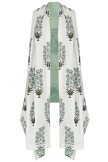 White and Green Printed Asymmetrical Shrug by Shirrin Design Co.