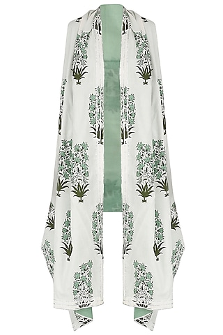 White and Green Printed Asymmetrical Shrug by Shirrin Design Co.