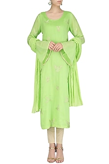 Mint Spunsilk Embroidered Kurta and Dupatta by Shirrin Design Co.