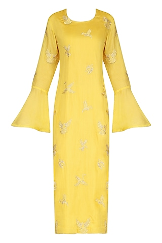 Yellow Spunsilk Embroidered Kurta and Dupatta by Shirrin Design Co.