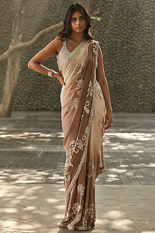 Brown & White Ombre Embroidered Saree Set by Seema Gujral