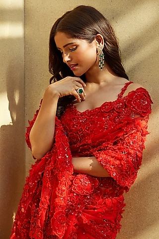 Red Embroidered Saree Set by Seema Gujral