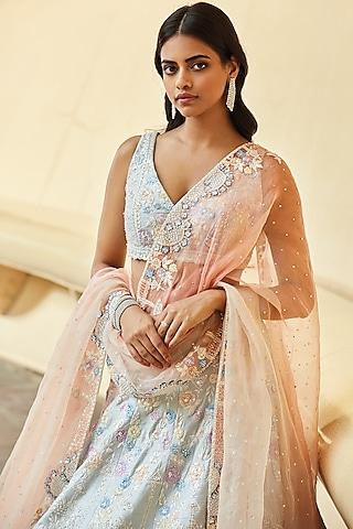 Powder Blue Embroidered Lehenga Set by Seema Gujral