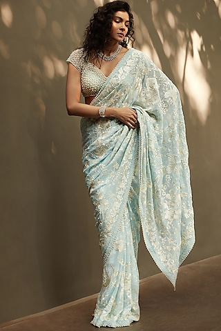 Powder Blue Embroidered Saree Set by Seema Gujral