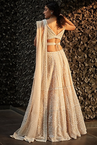 Champagne White Embroidered Lehenga Set by Seema Gujral
