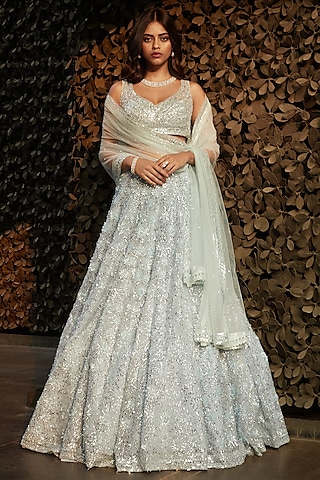 Powder Blue Floral Embroidered Lehenga Set by Seema Gujral