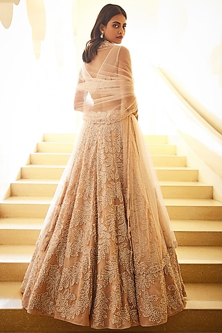 Champagne White Pearl Embroidered Lehenga Set by Seema Gujral