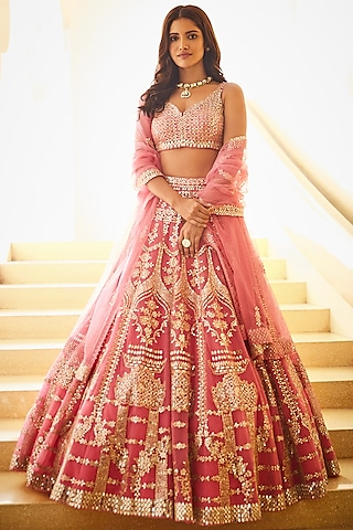 Pink Embroidered Lehenga Set by Seema Gujral
