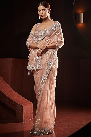 Peach Embroidered Saree Set by Seema Gujral