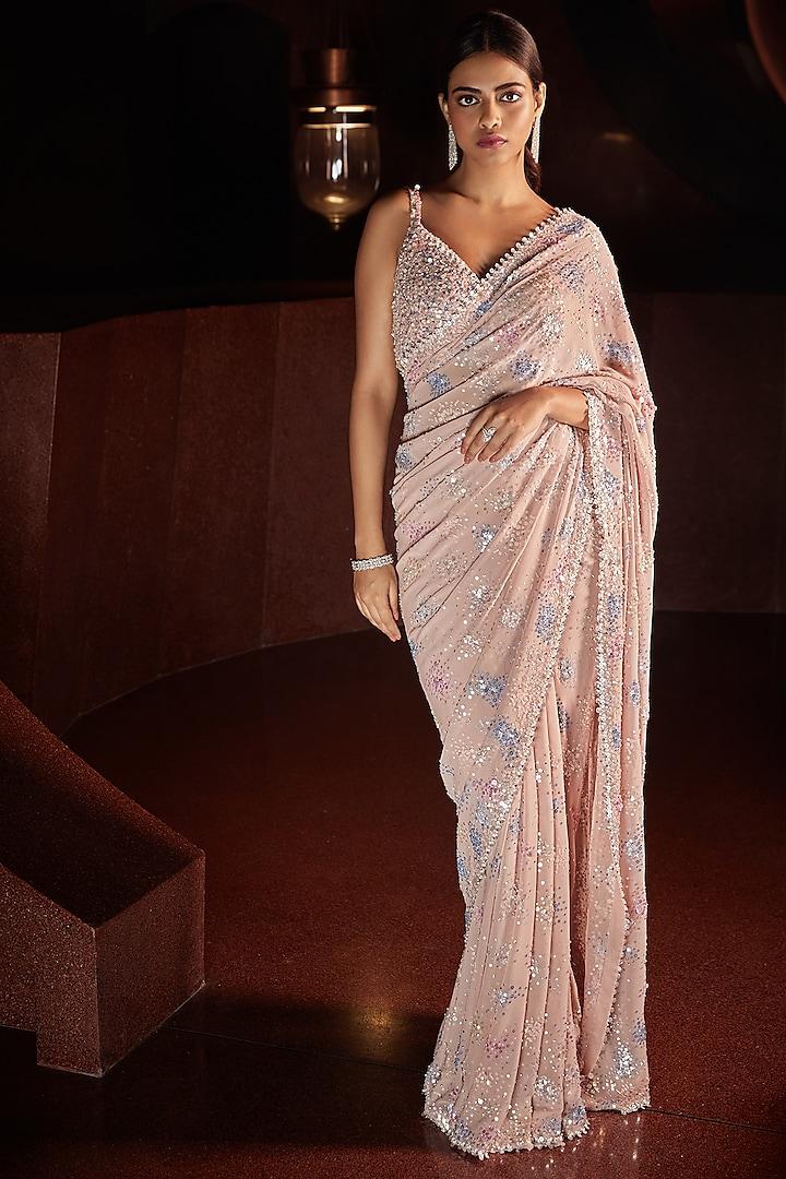 Blush Pink Metallic Embroidered Saree Set by Seema Gujral