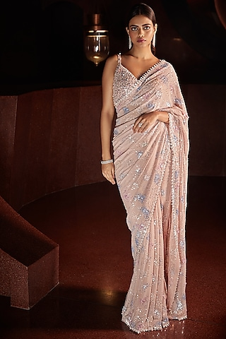 Blush Pink Metallic Embroidered Saree Set by Seema Gujral