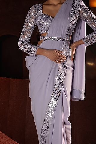 Lavender Embroidered Saree Set by Seema Gujral