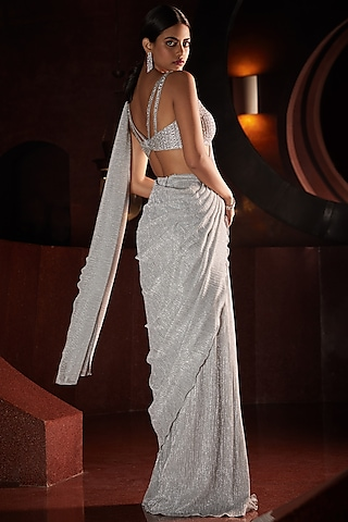 Silver Embroidered Pre-Stitched Saree Set by Seema Gujral