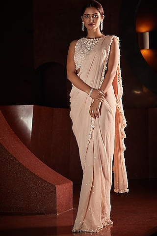 Peach Embroidered Pre-Stitched Saree Set by Seema Gujral