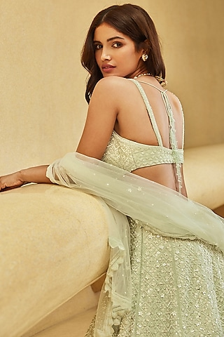 Mint Green Embroidered Lehenga Set by Seema Gujral