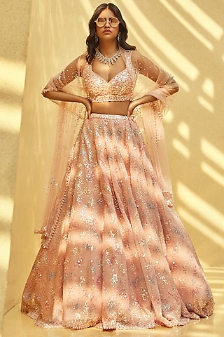 Blush Pink Sequins Embroidered Lehenga Set by Seema Gujral