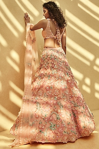 Pink Floral Embroidered Lehenga Set by Seema Gujral