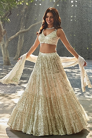 Ivory Sequins Embroidered Lehenga Set by Seema Gujral