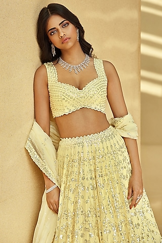 Lime Yellow Embroidered Lehenga Set by Seema Gujral