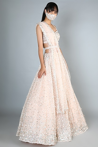 Pink Lehenga Set With Sequins Work by Seema Gujral