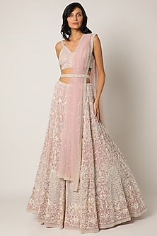 Light Pink Embroidered Lehenga Set With Belt by Seema Gujral-POPULAR PRODUCTS AT STORE