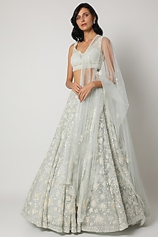 Powder Blue Embroidered Lehenga Set by Seema Gujral-POPULAR PRODUCTS AT STORE