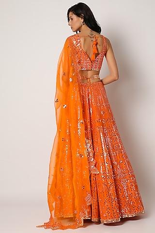 Orange Embroidered Lehenga Set by Seema Gujral