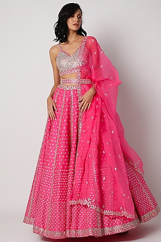Bright Pink Embroidered Lehenga Set by Seema Gujral