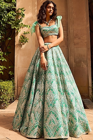 Green Multi-Layered Lehenga Set With Mask by Seema Gujral