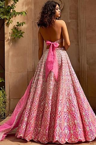 Pink Multi Layered Lehenga Set by Seema Gujral
